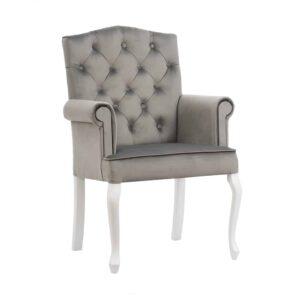 Fotel Evanell, french velvet 6700, 14 biały (1)