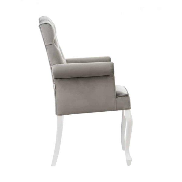 Fotel Evanell, french velvet 6700, 14 biały (2)
