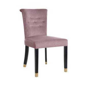 Nowoczesne krzesło Largo w tkaninie french velvet, nogi czarne ze złotymi końcami