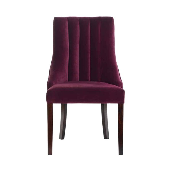Krzesło Margaret, glam velvet 24 plum, 8 ciemny orzech (2)
