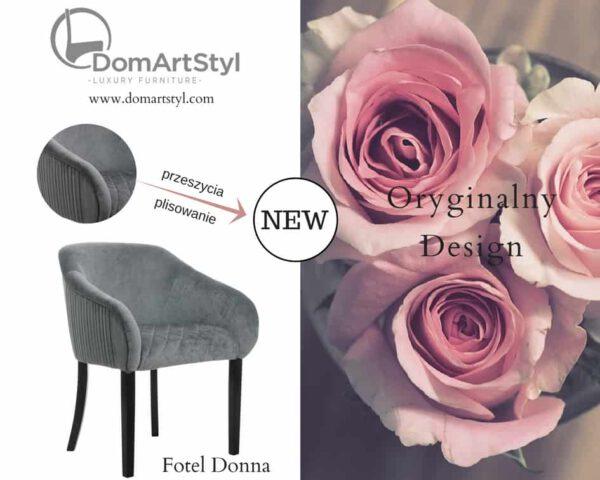 Fotel Donna eleganckie plisowanie