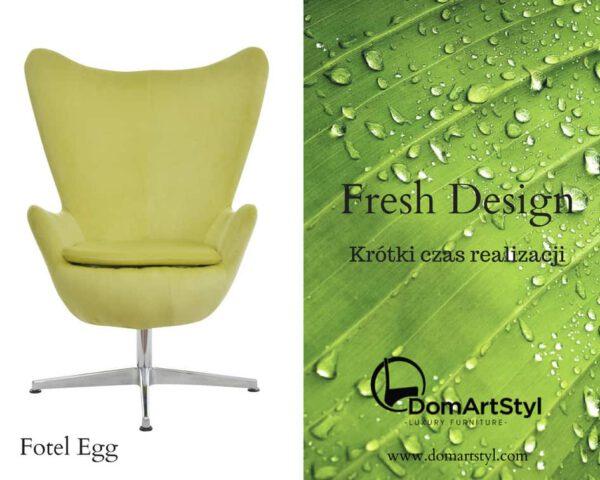 Nowoczesny limonkowy fotel