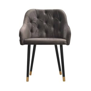 Fotel Albit, magic velvet 2205, czarny + złote końce (1)